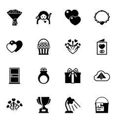 16 decoration filled icons set isolated on white vector image