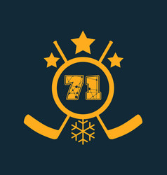 71 number ice hockey emblem vector