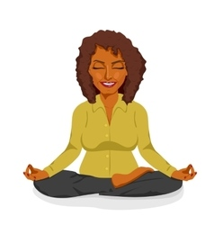 african american businesswoman in yoga lotus pose vector image