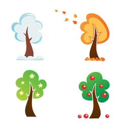 All season tree icons set vector