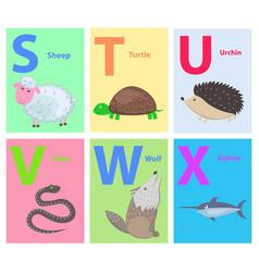 Alphabet for children with animal vector