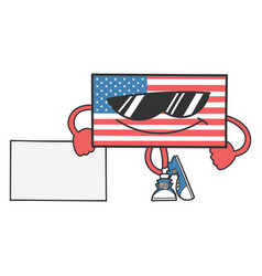 American flag cartoon with sunglasses leaning vector