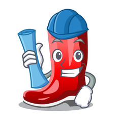 Architect single of boots isolated on mascot vector