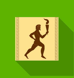athlete with olympic fire icon in flat style vector image