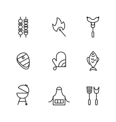 Barbecue and grill line icons vector