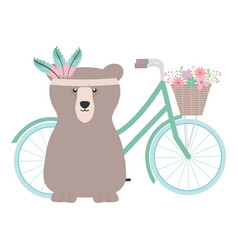 bear grizzly with feathers hat in bicycle bohemian vector image