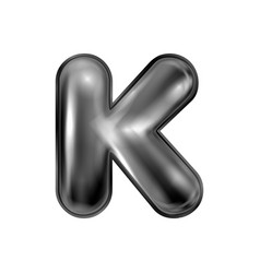 Black latex inflated alphabet symbol k vector