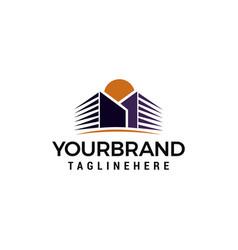 buildings sun logo template design vector image