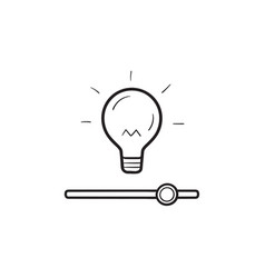 bulb with slider switch hand drawn outline doodle vector image