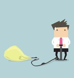 Businessman pumps up a balloon of a light bulb vector