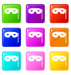 Carnival mask set 9 vector