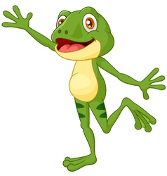 Cartoon cute frog waving hand with a face full of vector
