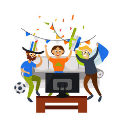 Cartoon football party at home in cozy atmosphere vector