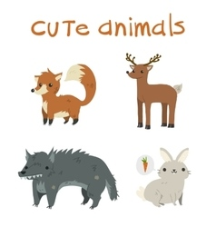Cartoon set of fox deer wolf rabbit flat icons vector image