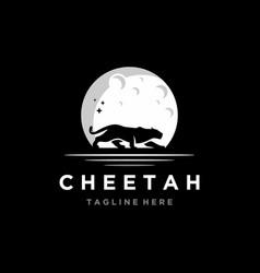 cheetah with moon logo icon vector image