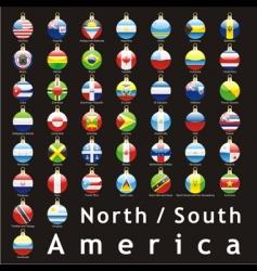 Christmas bulbs americas flags vector