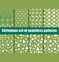 christmas seamless patterns christmas trees vector image