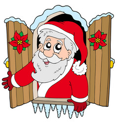 Christmas window with santa claus vector