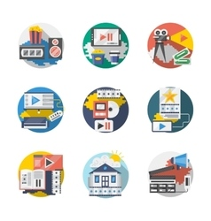 Cinema industry detailed flat icons set vector image