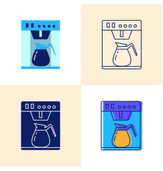 coffee machine icon set in flat and line styles vector image