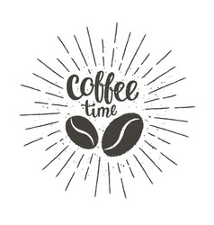Coffee time lettering with beans and sun rays vector