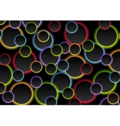 Colorful circles on black background vector image vector image