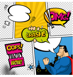 comic book page divided by lines with speech vector image