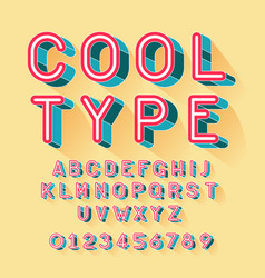 Cool isometric font alphabet letters and numbers vector