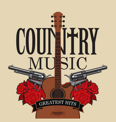 Country music emblem with guitar pistols and vector