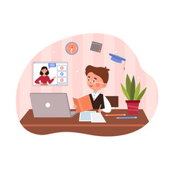cute little boy is sitting behind his desk vector image