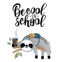 Cute sloth bear animal with coffee vector