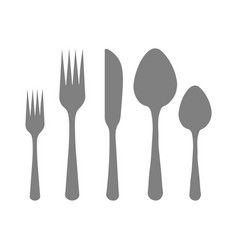 cutlery silhouettes spoon knife forks vector image
