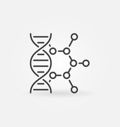 Dna with molecule line icon genetic vector