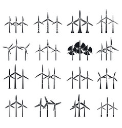 eco wind turbine icons set simple style vector image