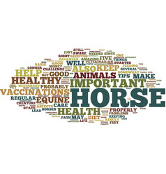 Equine health five tips for a healthy horse text vector