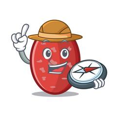 Explorer salami mascot cartoon style vector