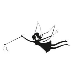 Fairy black silhouette with a magic wand vector