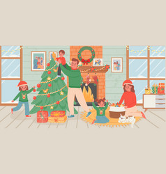 family celebrate christmas at home parents vector image