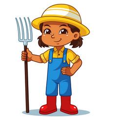 Farmer girl holding fork ready to work vector
