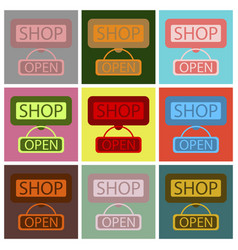 Flat icons set label store opened vector
