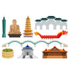 Flat set of taiwan national cultural vector