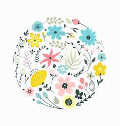 floral elements in gentle colors vector image