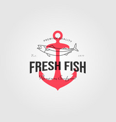 fresh fish logo vintage seafood with anchor label vector image