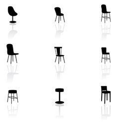 Furniture icons - chairs vector image