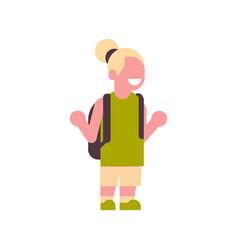 girl backpack raising hands up school children vector image