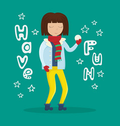 girl in winter clothes with a snowball in her hand vector image