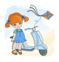 girl kite cartoon set for prin vector image