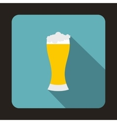 Glass of beer icon flat style vector image