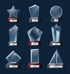 Glass trophies awards prizes crystal win cups vector