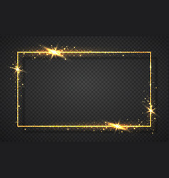Gold shiny glitter glowing vintage frame with vector